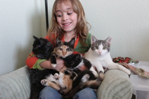 My cute daughter with a bunch of foster friends!